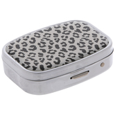 White & Black Leopard Print Pill Case