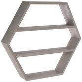 Gray Hexagon Four-Tiered Wood Wall Shelf
