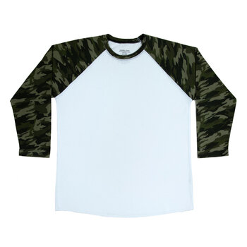Green Camo Sleeve Adult Baseball T-Shirt - Small