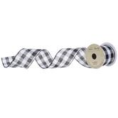 "White & Black Buffalo Check Wired Edge Ribbon - 2 1/2"""