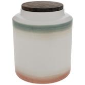 Green, White & Red Striped Jar