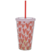 Hearts & Glitter Cup With Straw