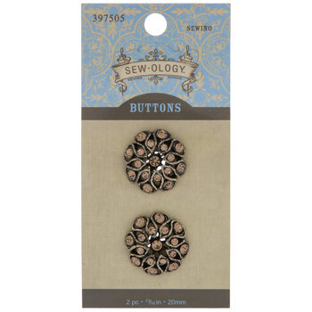 Rhinestone Flower Shank Buttons - 20mm
