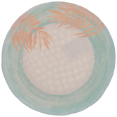 Turquoise & Pink Palm Leaves Plate