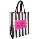 Black & White Striped Happy Birthday Gift Bag