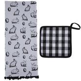 White & Black Bunny Kitchen Towel & Pot Holder