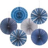 Blue & Gray Paper Fans