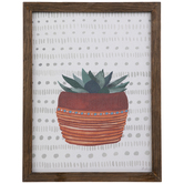 Potted Succulent Wood Wall Decor