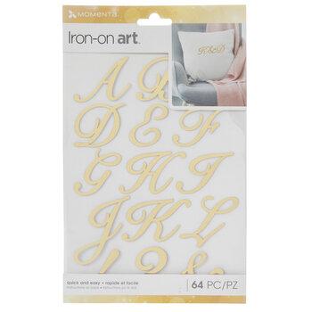 Gold Foil Script Alphabet Iron-On Appliques