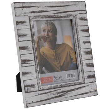 Distressed White Plank Wood Frame