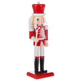Red & White Nutcracker With Long Peppermint Scepter