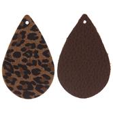 Leopard & Brown Teardrop Leather Earring Blanks