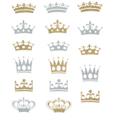 Gold & Silver Glitter Crown Stickers