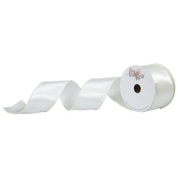 """Ivory Pearl & Satin Wired Edge Ribbon - 2 1/2"""""""