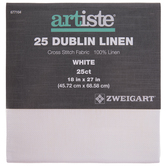 "White 25-Count Dublin Linen Cross Stitch Fabric - 18"" x 27"""