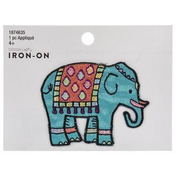 Elephant & Tassel Rug Iron-On Applique