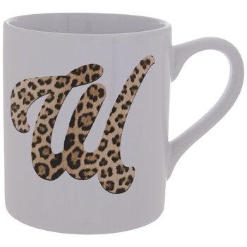 Leopard Print Letter Mug - W