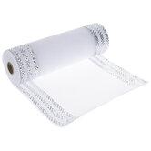 """White & Silver Striped Deco Mesh Ribbon - 10"""""""