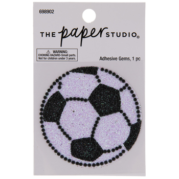Soccer Ball Glitter & Rhinestones Sticker