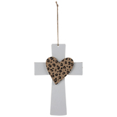 Leopard Print Heart Wood Wall Cross