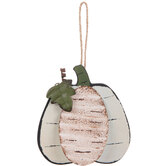 Cream Pumpkin Wood Ornament