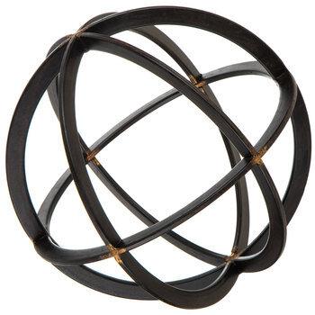 Black & Gold Banded Decorative Sphere