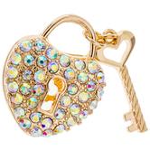 Rhinestone Heart Lock & Key Pendant