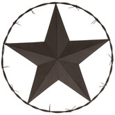 Star & Barbed Wire Circle Metal Wall Decor
