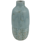 Soft Blue Crackled Chevron Vase