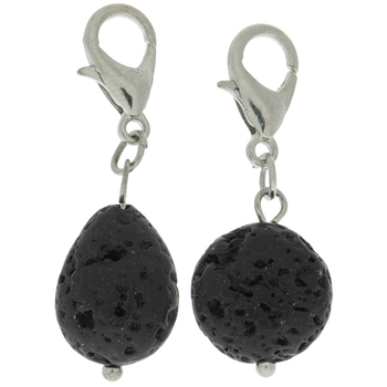 Black Lava Bead Lobster Clasp Charms