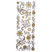 Black & Gold Glitter Swirl Stickers