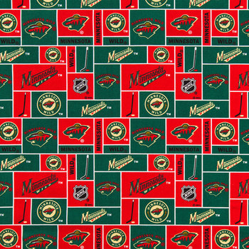 NHL Minnesota Wild Block Cotton Fabric