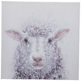 White Sheep Textured Canvas Wall Decor