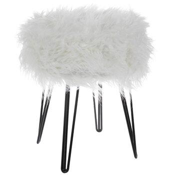 White Faux Fur Hairpin Stool