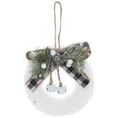 White Glitter Berries & Bells Wreath Ornaments