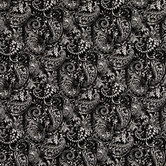 Black & White Paisley Cotton Calico Fabric