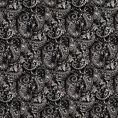 Black & White Paisley Cotton Calico Fabric