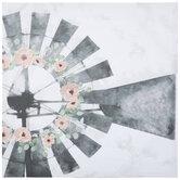 Windmill & Flowers Canvas Wall Decor