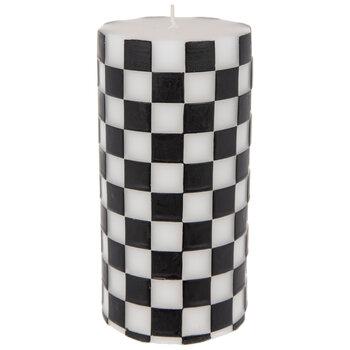 White & Black Checkered Pillar Candle