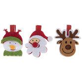 Santa, Reindeer & Snowman Felt Gift Tag Clips