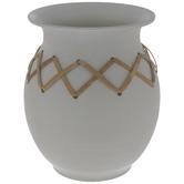 White Metal Vase With Rattan Trim