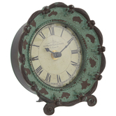Turquoise Distressed Metal Clock