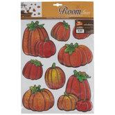 Wood Grain Pumpkins Adhesive Wall Art