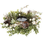 Boxwood & Berry Candle Holder Centerpiece
