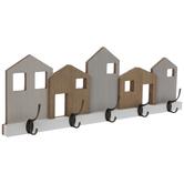 Houses Wood Wall Decor With Hooks