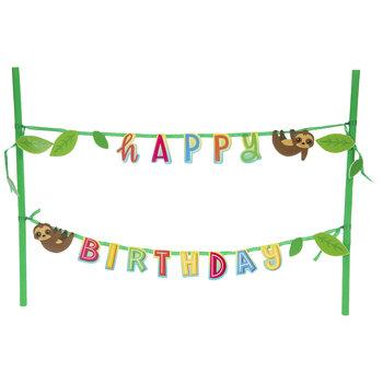 Happy Birthday Sloth Cake Banner