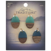 Blue & Wood Grain Oval Charms