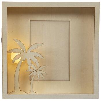"""Light Up Palm Tree Wood Frame - 4"""" x 6"""""""