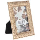"Antique Gold Floral Scroll Metal Frame - 2"" x 3"""