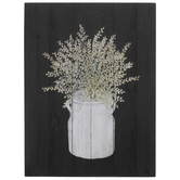 Black & Green Potted Plant Wood Decor